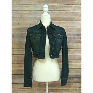Hydraulic dark wash cropped fitted denim jacket